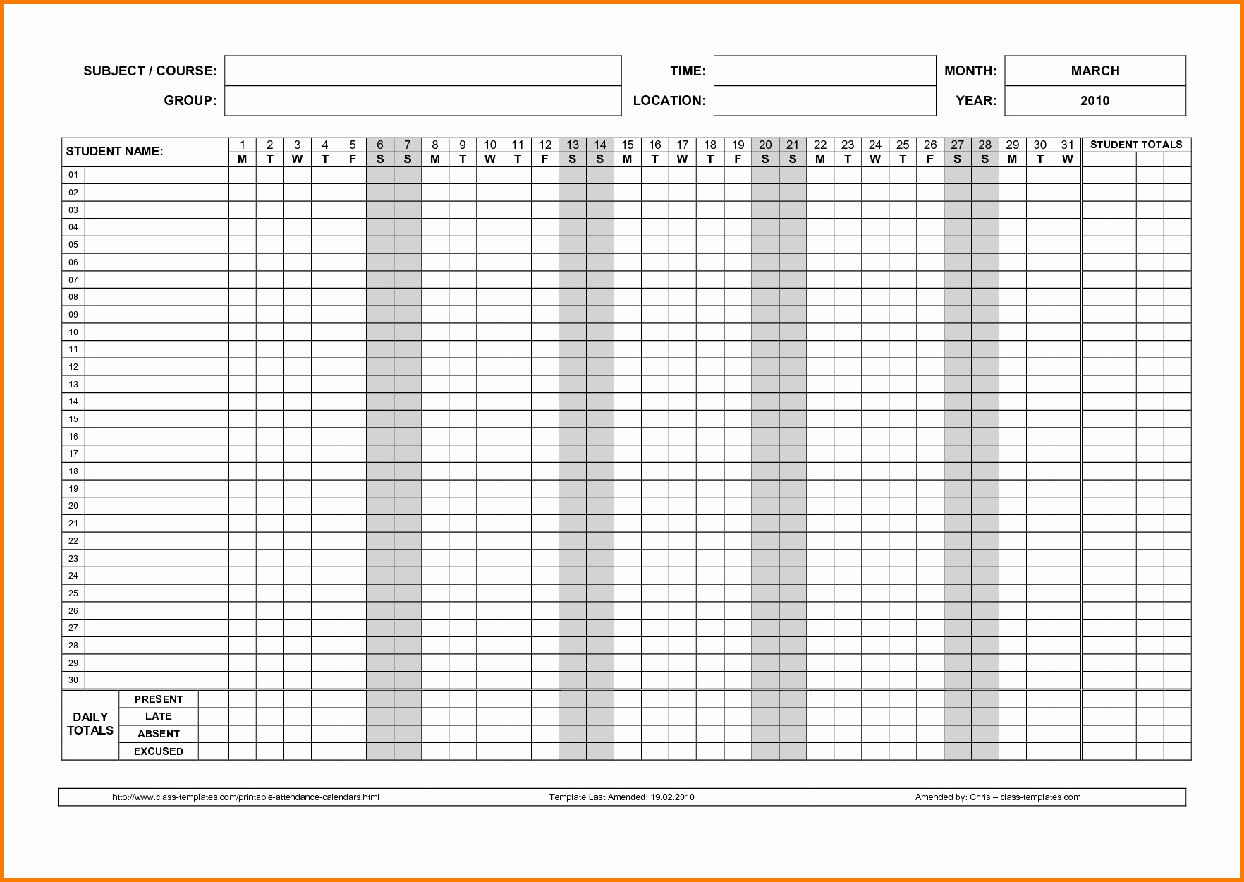 Free Printable 2016 attendance Calendar Luxury Printable attendance Sheet