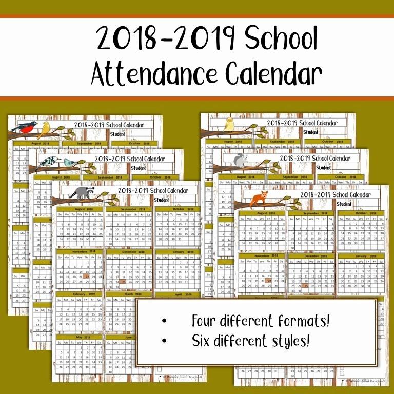 Free Printable 2016 attendance Calendar Unique Free 2018 2019 Printable School attendance Calendar