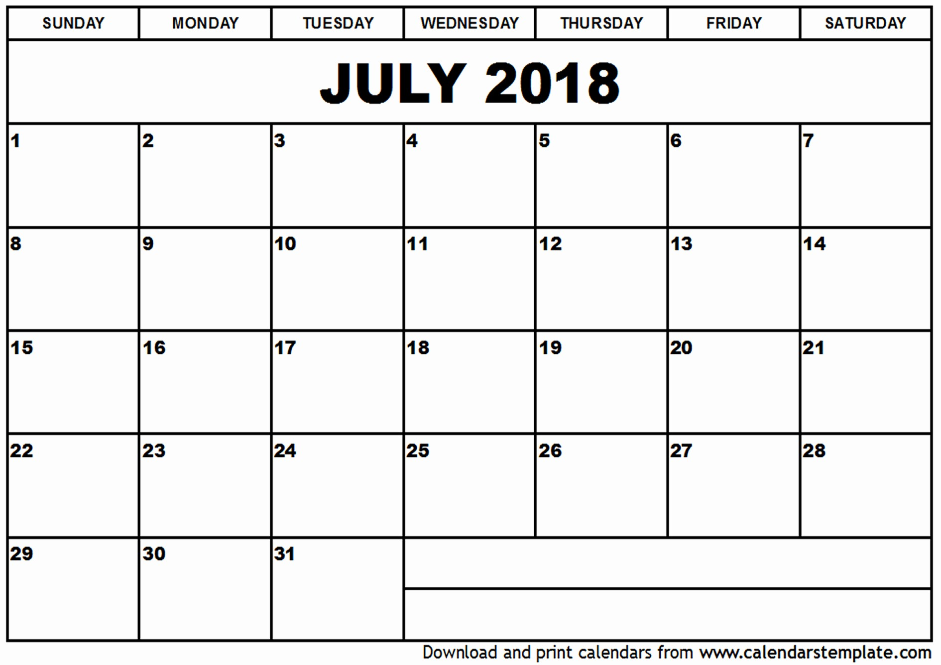 Free Printable 2018 Calendar Templates Awesome July 2018 Calendar Template