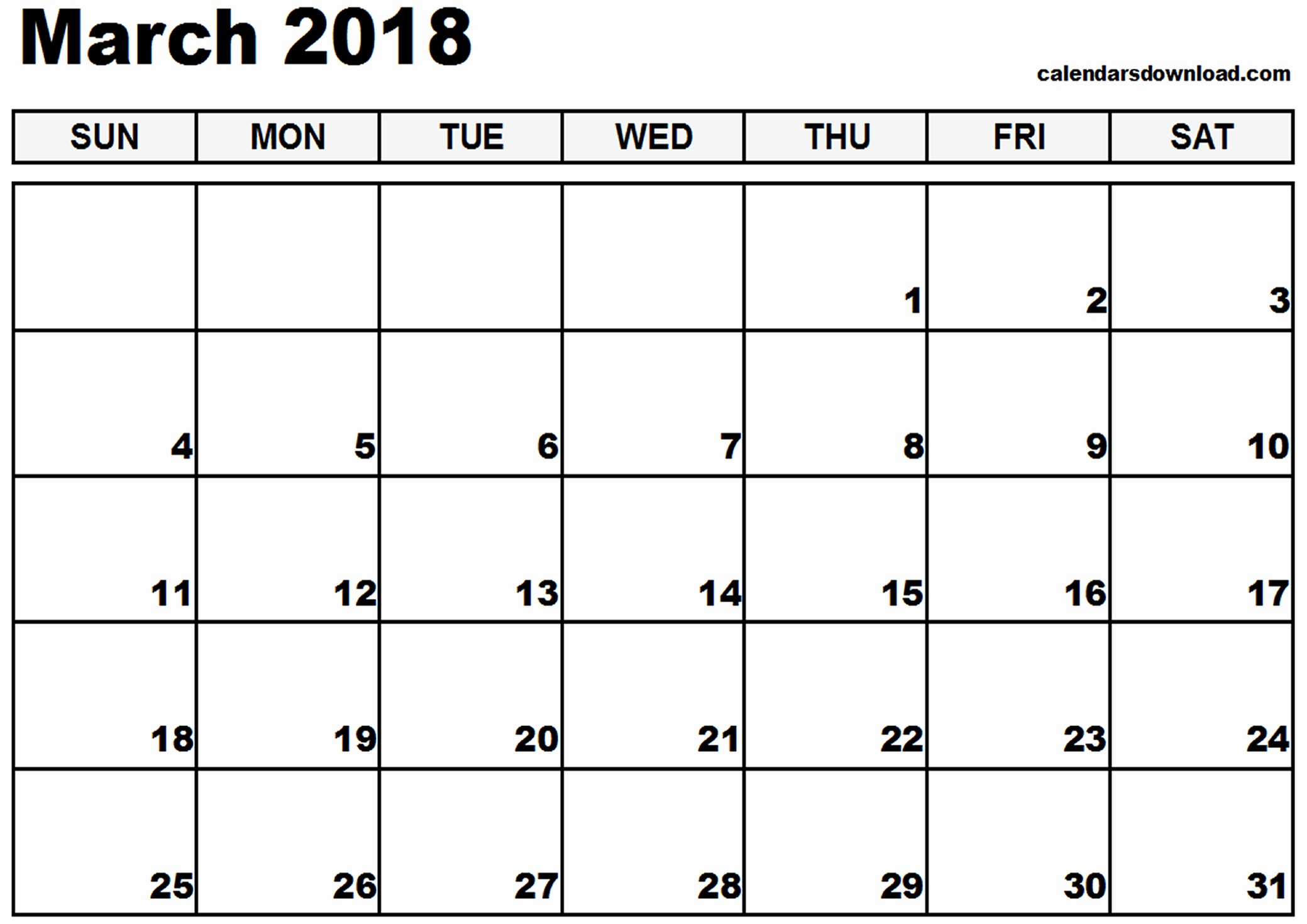 Free Printable 2018 Calendar Templates Awesome March 2018 Calendar Template