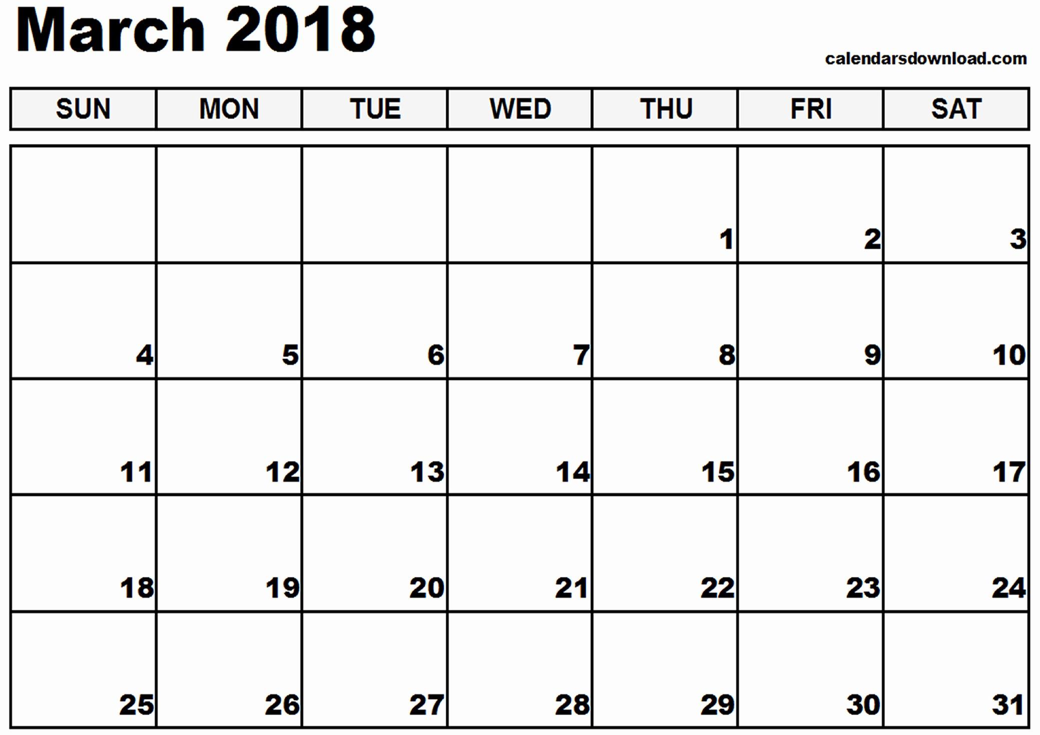 Free Printable 2018 Calendar Templates Awesome March 2018 Calendar Template