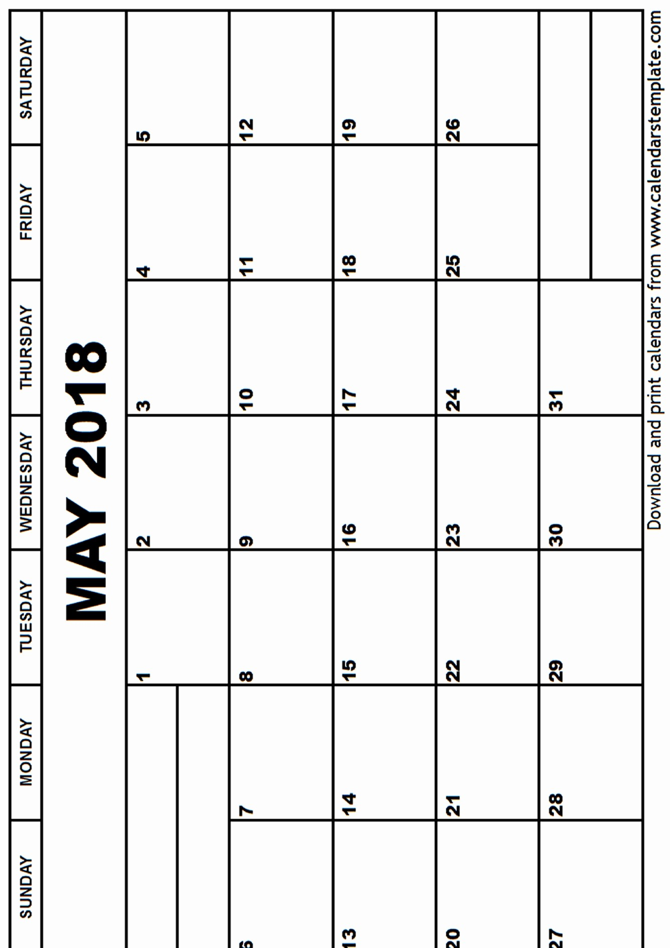 Free Printable 2018 Calendar Templates Awesome May 2018 Calendar Template