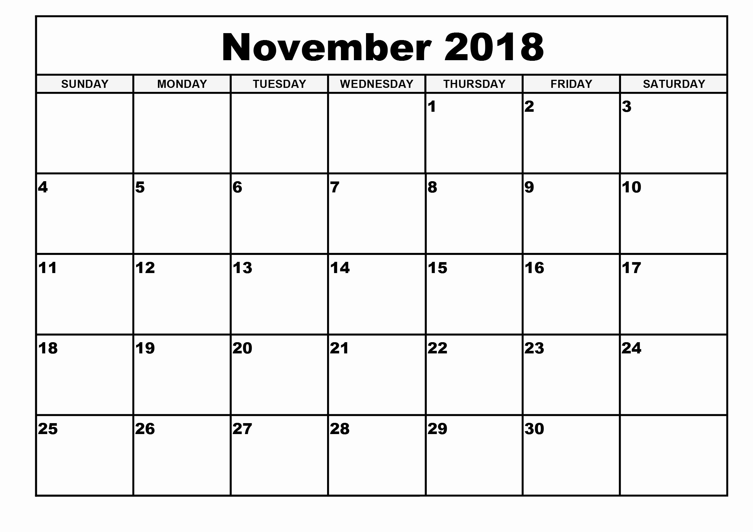 Free Printable 2018 Calendar Templates Awesome November 2018 A4 Calendar Printable Template Download