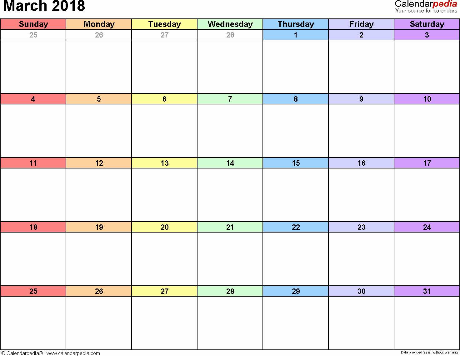 Free Printable 2018 Calendar Templates Beautiful March 2018 Calendar Template