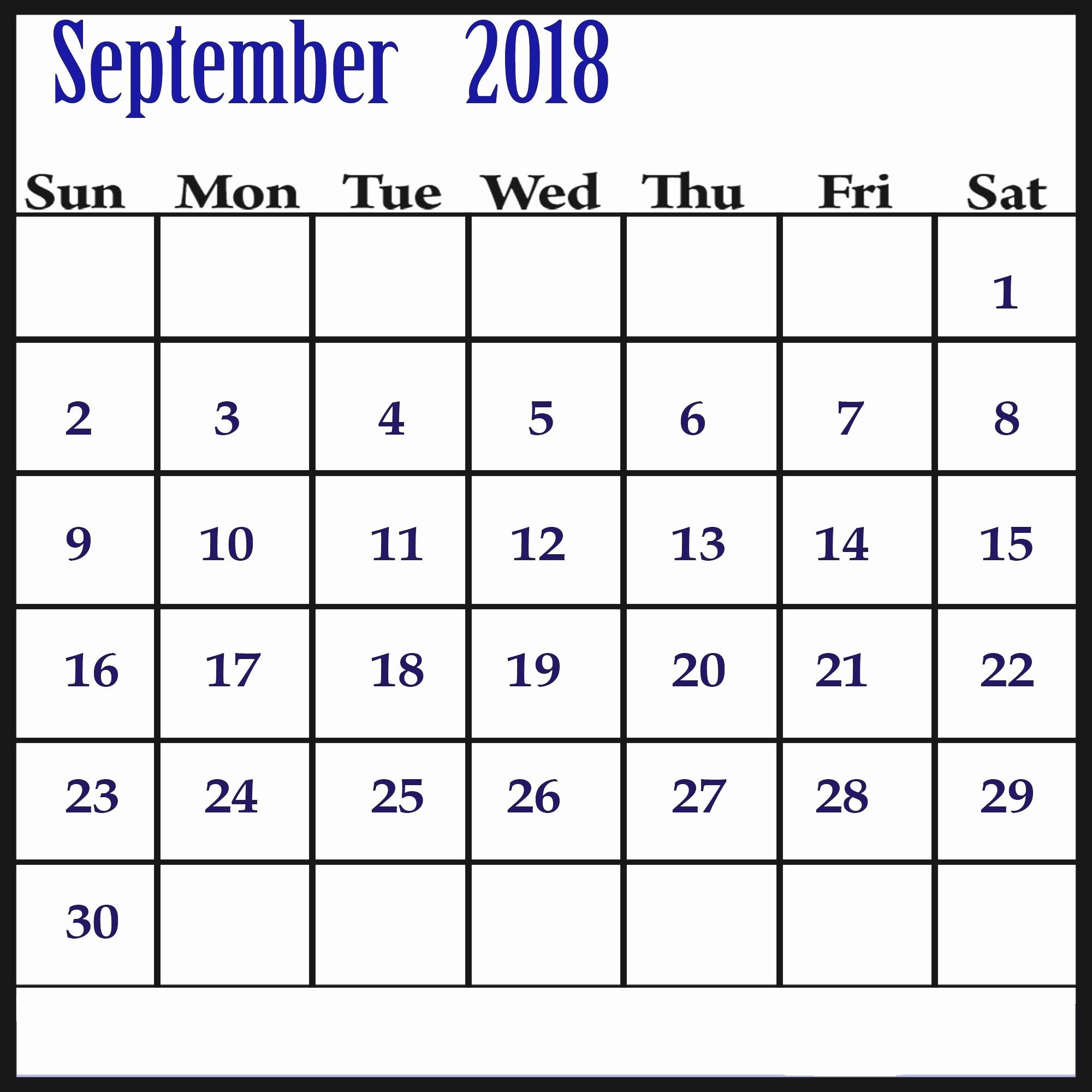 free printable calendar september 2018