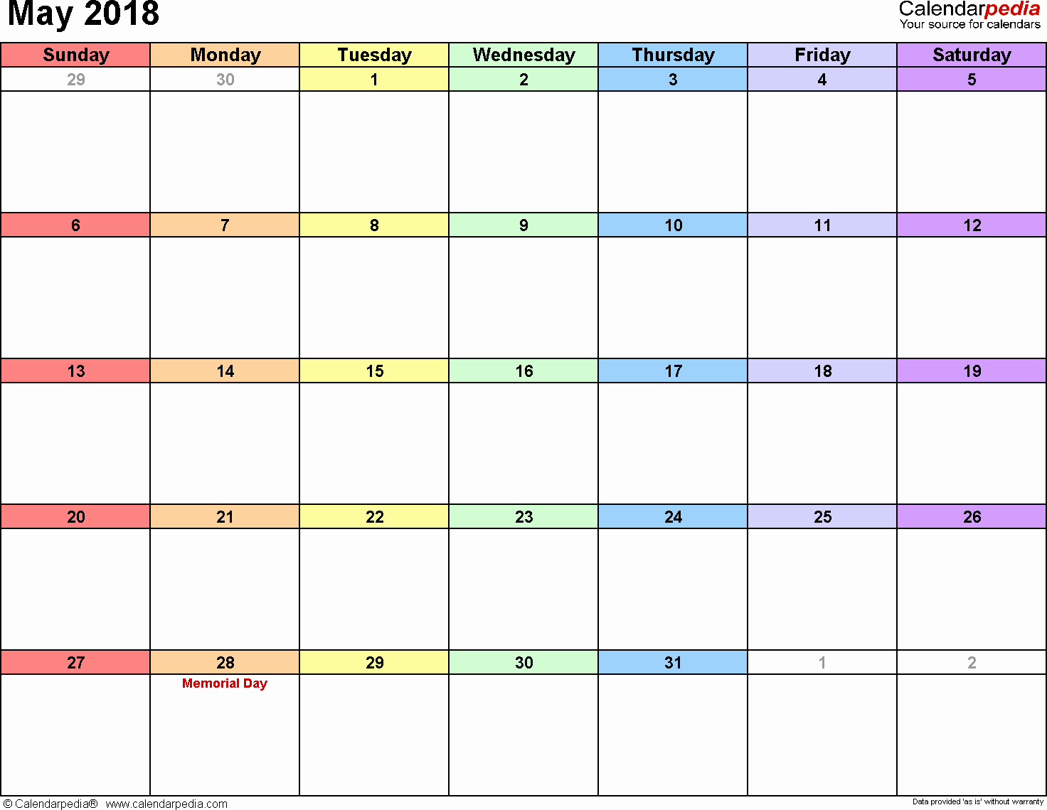 Free Printable 2018 Calendar Templates Elegant May 2018 Calendar Template