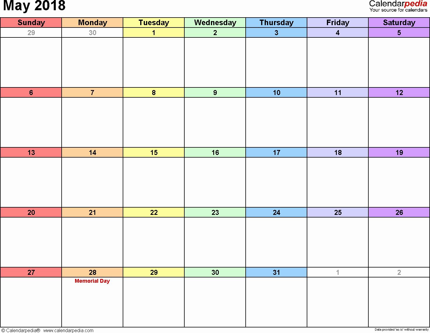 Free Printable 2018 Calendar Templates Elegant May 2018 Calendar Template
