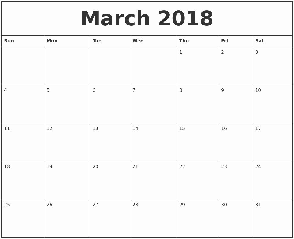 Free Printable 2018 Calendar Templates Elegant Printable Calendar 2018 [free] March 2018 Printable