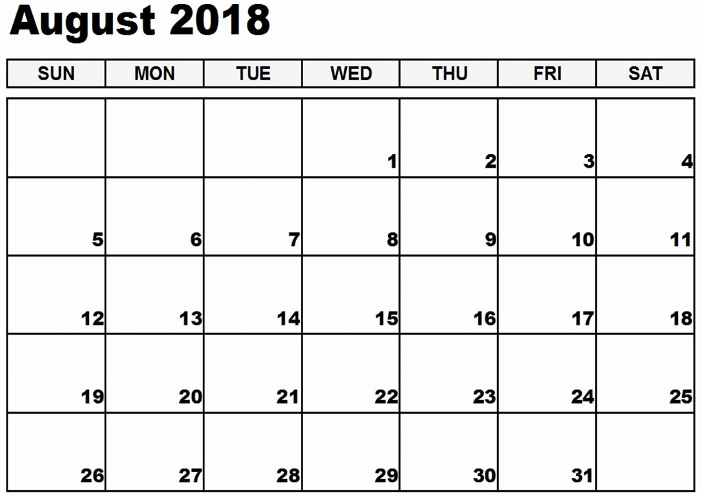 Free Printable 2018 Calendar Templates Fresh August 2018 Calendars