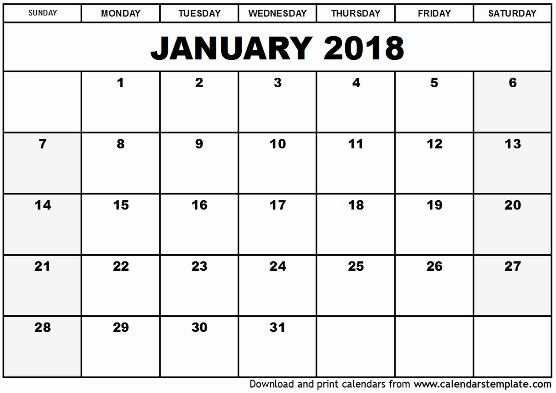 Free Printable 2018 Calendar Templates Inspirational January 2018 Calendar Template