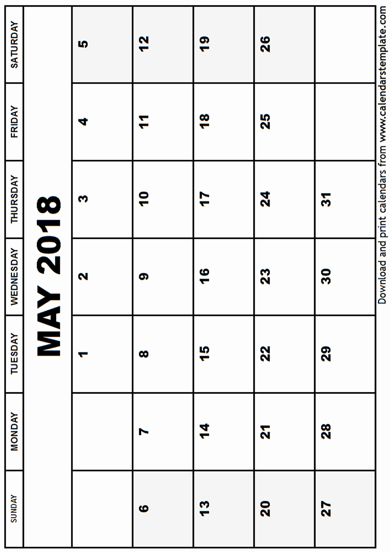 Free Printable 2018 Calendar Templates Inspirational May 2018 Calendar Template