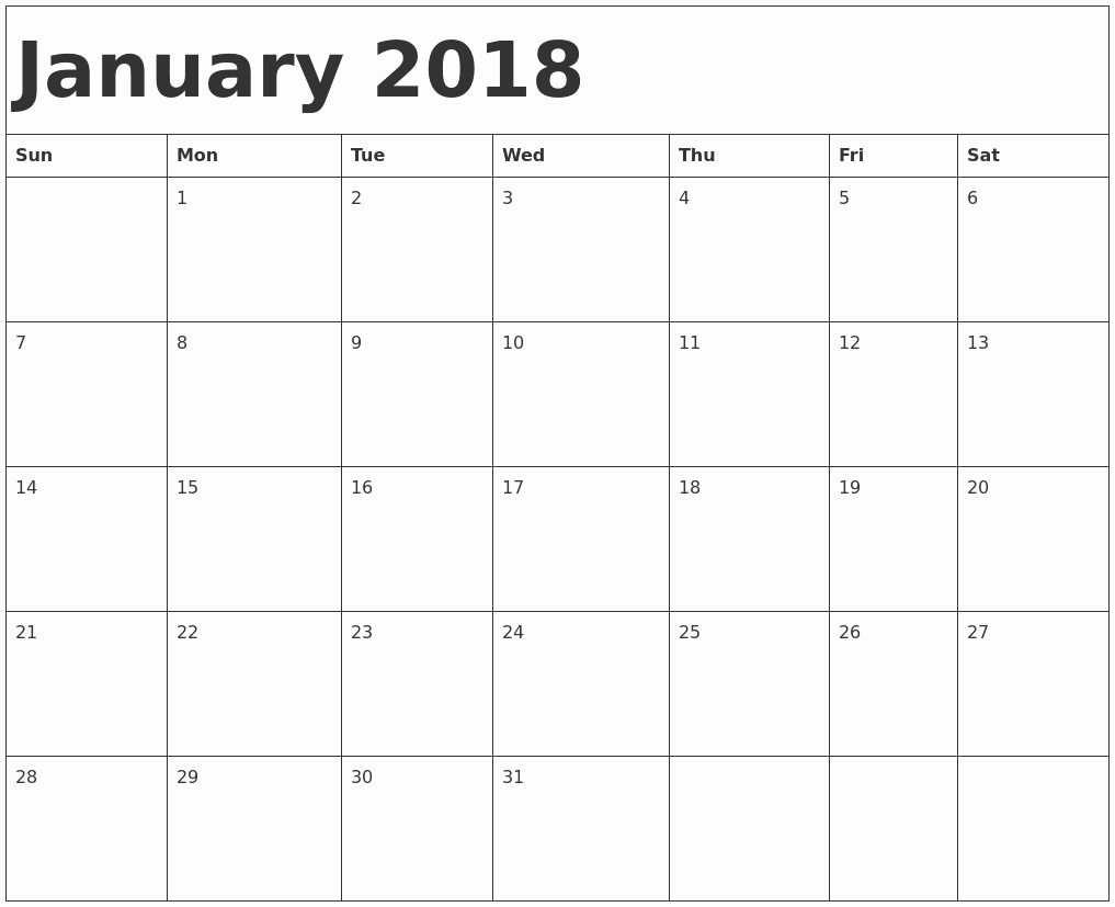 Free Printable 2018 Calendar Templates Inspirational Printable Calendar 2018 [free] January 2018 Printable