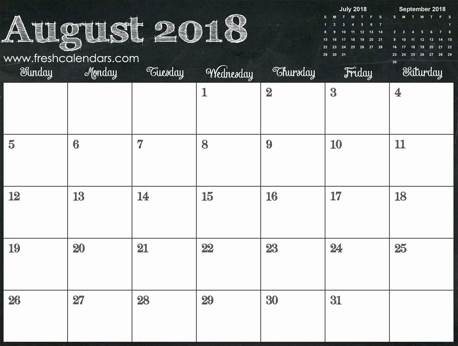 Free Printable 2018 Calendar Templates Lovely Blank August 2018 Calendar Printable Templates