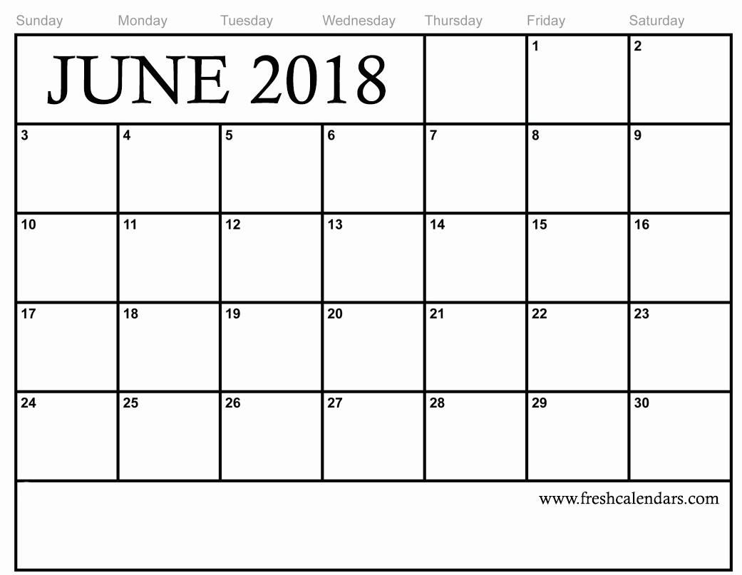 Free Printable 2018 Calendar Templates Luxury Blank June 2018 Calendar Printable Templates