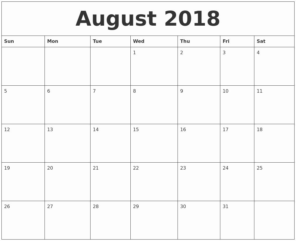 Free Printable 2018 Calendar Templates New August 2018 Free Printable Calendar Templates