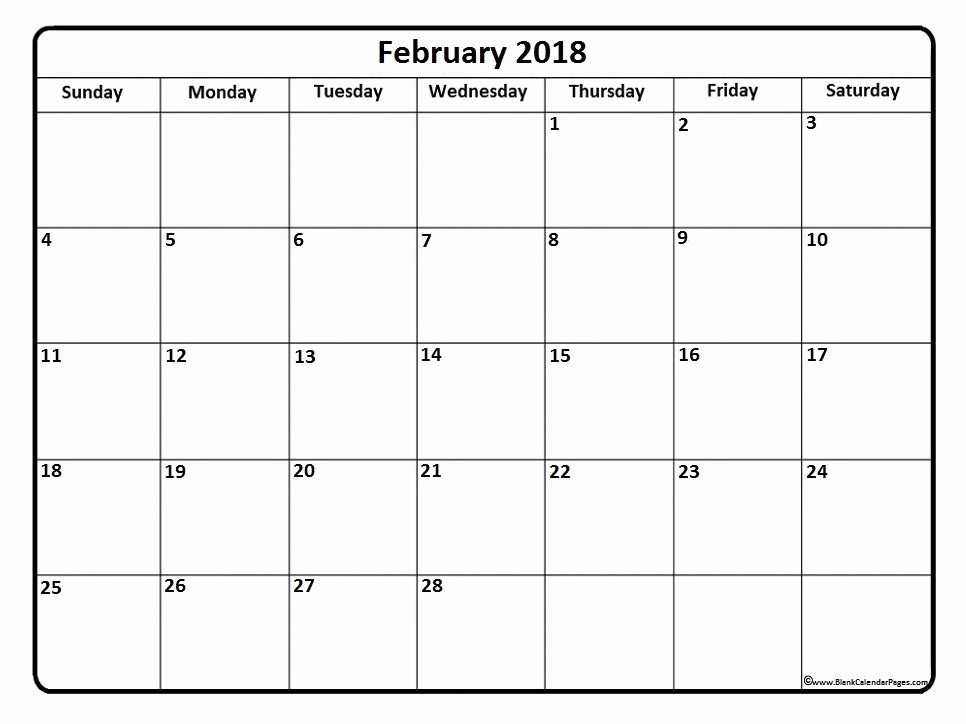 Free Printable 2018 Calendar Templates New February 2018 Calendar Template
