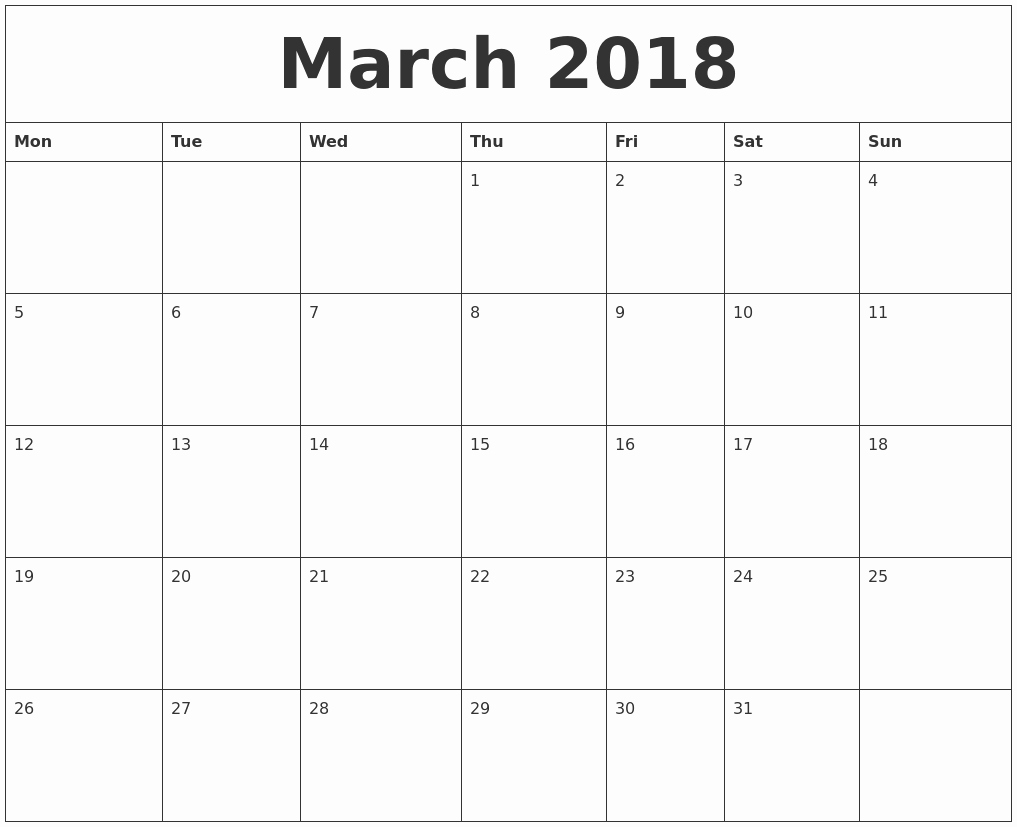 Free Printable 2018 Calendar Templates Unique March 2018 Free Printable Calendar Templates