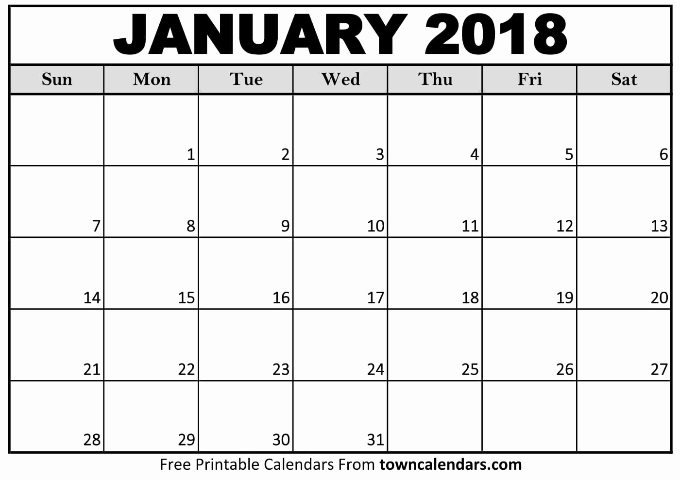 Free Printable 2018 Calendar Templates Unique Printable January 2018 Calendar towncalendars