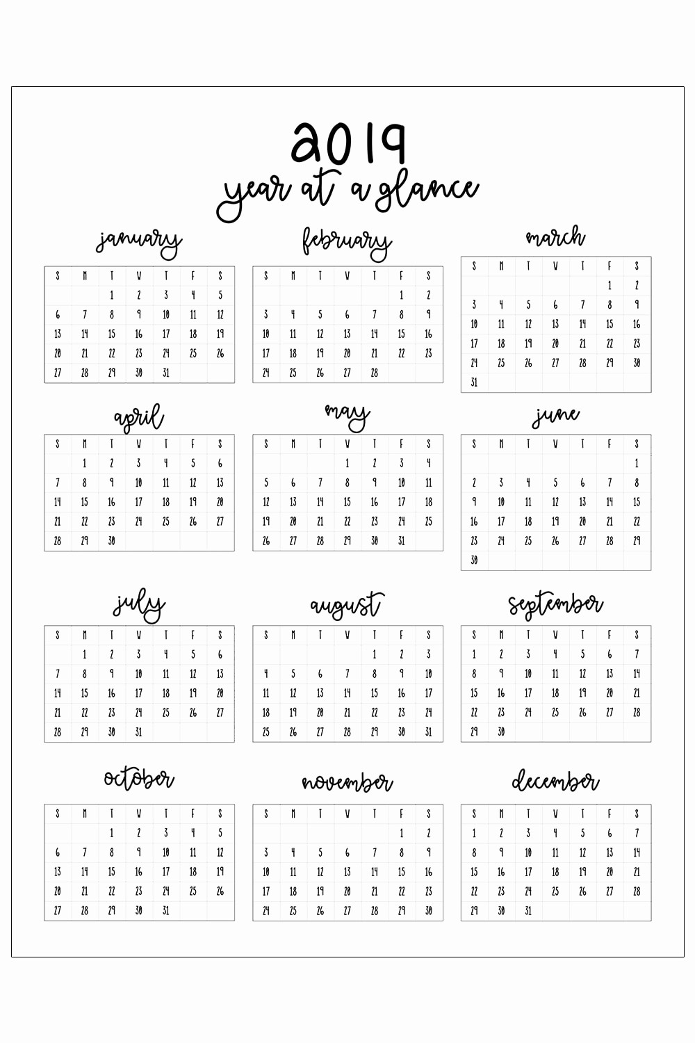 Free Printable 2019 Yearly Calendar Awesome 2019 Printable Calendar