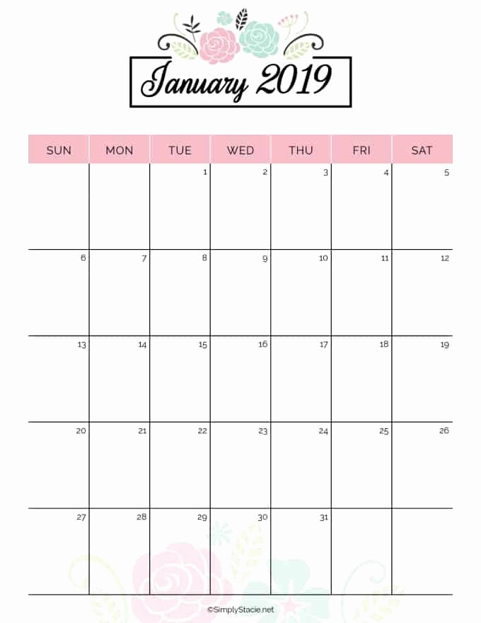 Free Printable 2019 Yearly Calendar Awesome 2019 Yearly Calendar Free Printable Simply Stacie