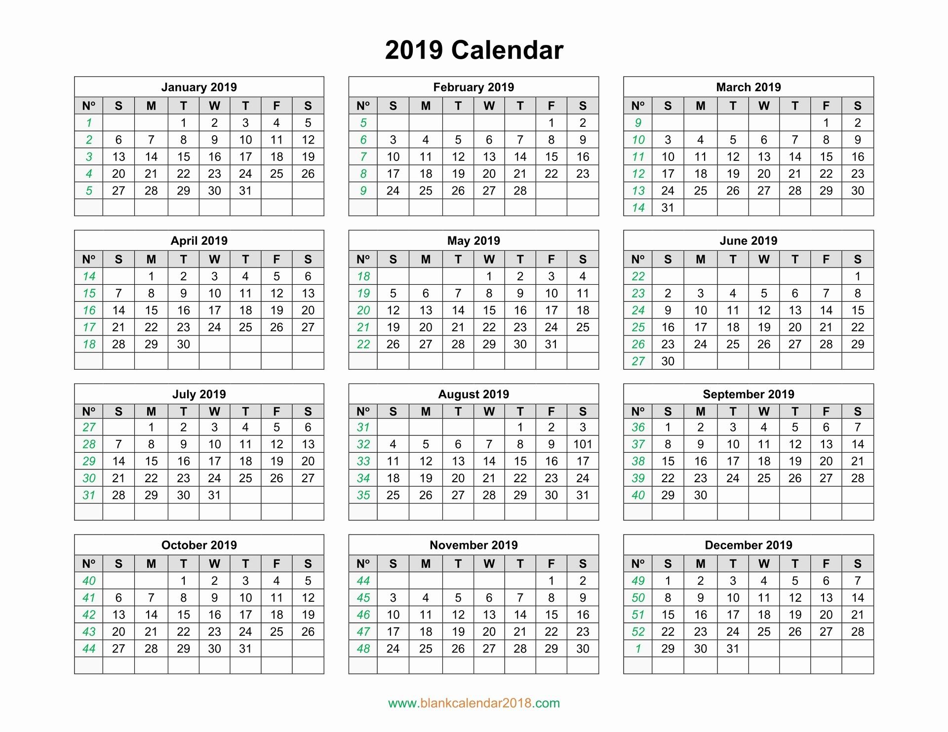 Free Printable 2019 Yearly Calendar Awesome Blank Calendar 2019