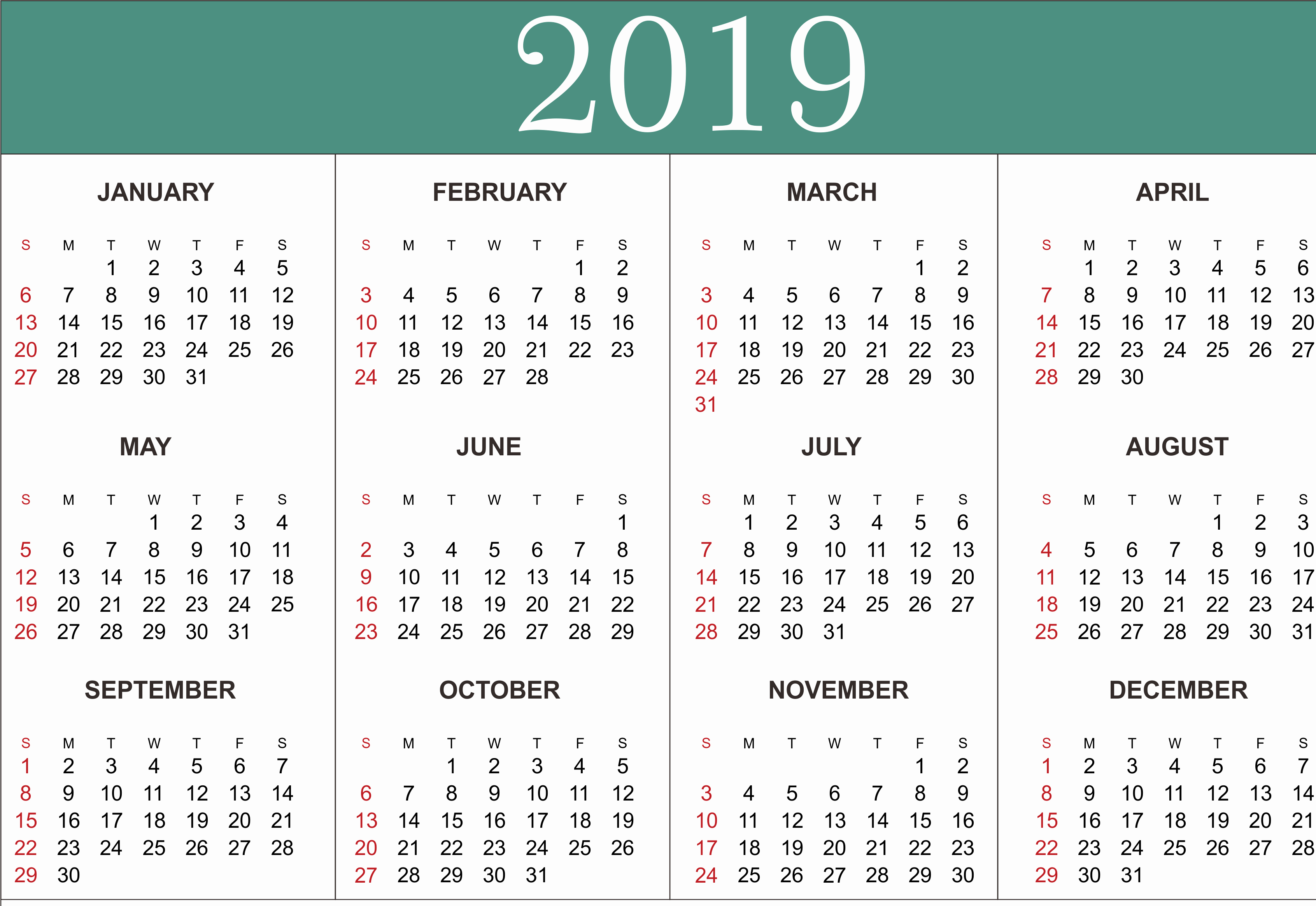 Free Printable 2019 Yearly Calendar Awesome Free Yearly Calendar 2019 Printable Blank Templates