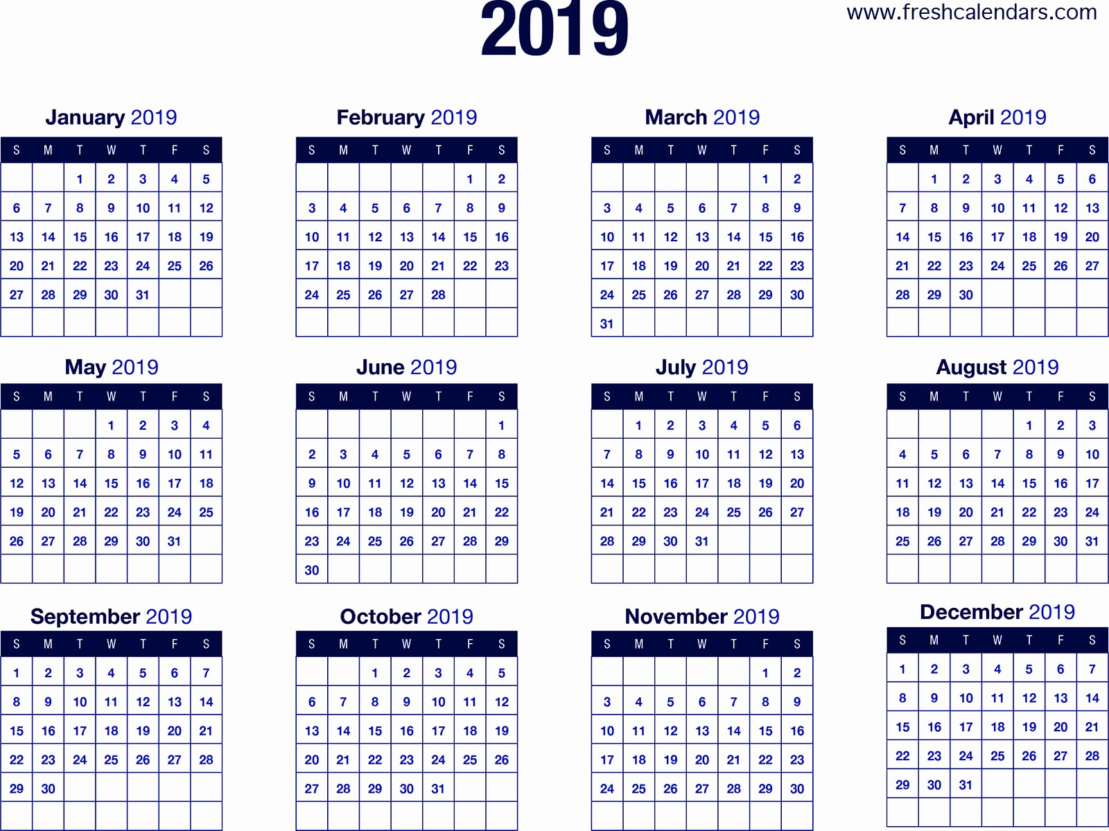 Free Printable 2019 Yearly Calendar Beautiful 2019 Calendar