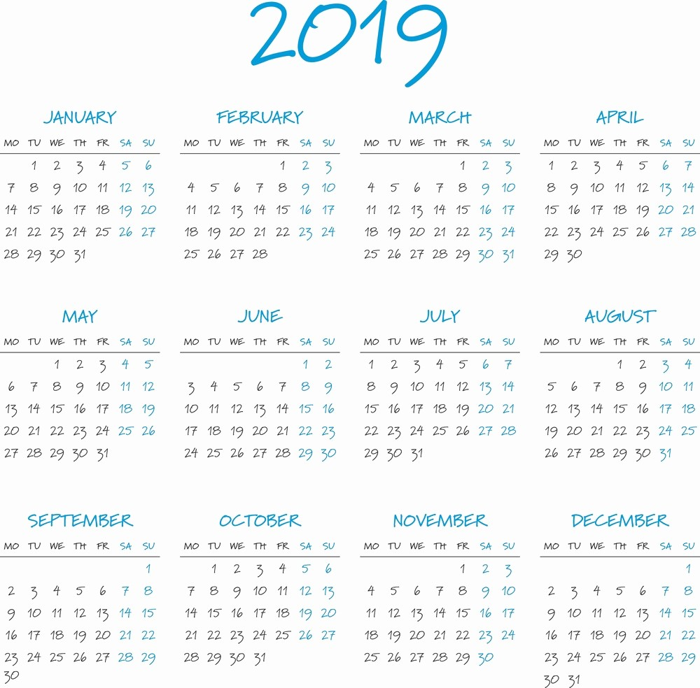Free Printable 2019 Yearly Calendar Beautiful Free Printable Calendar 2019