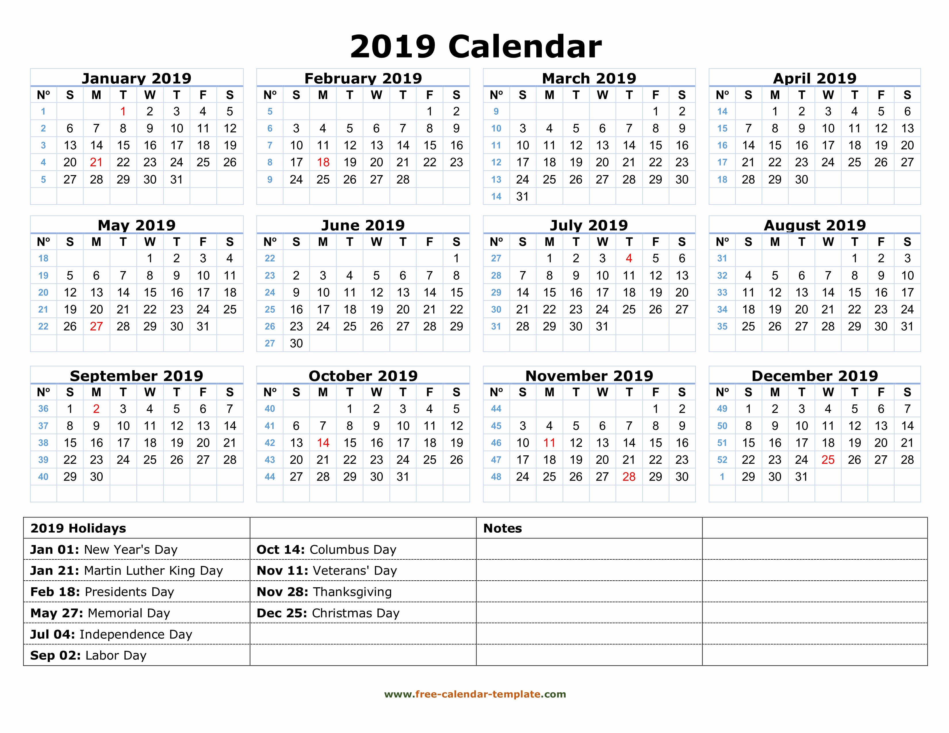 Free Printable 2019 Yearly Calendar Beautiful Printable Yearly Calendar 2019