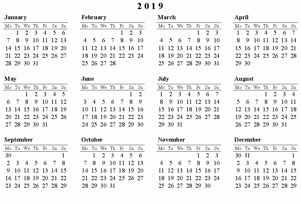 Free Printable 2019 Yearly Calendar Best Of 2019 Calendar