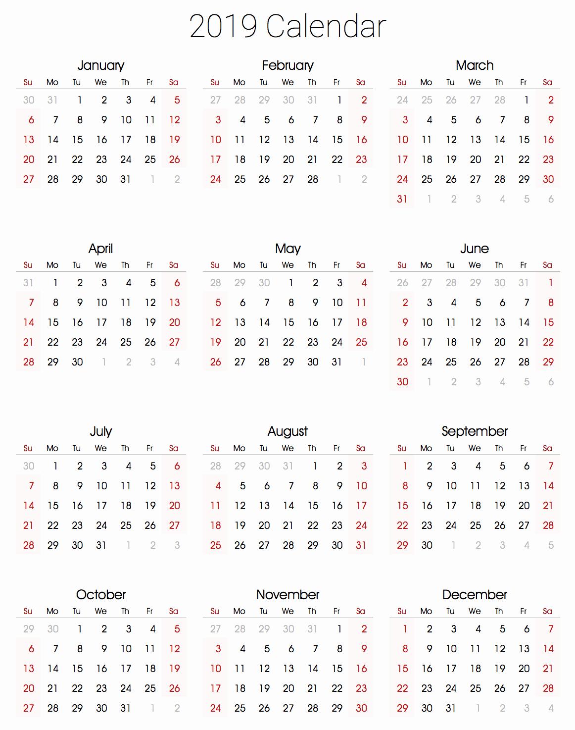Free Printable 2019 Yearly Calendar Elegant 2019 Calendar Amazonaws
