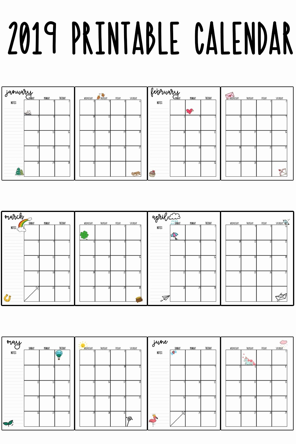 Free Printable 2019 Yearly Calendar Elegant 2019 Printable Calendar