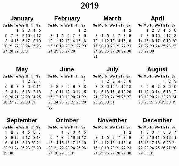 Free Printable 2019 Yearly Calendar Elegant Yearly Calendar 2019