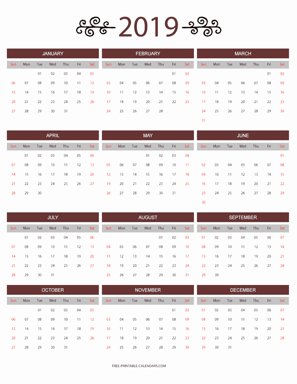 Free Printable 2019 Yearly Calendar Fresh 12 Month Colorful Calendar for 2019 Free Printable Calendars