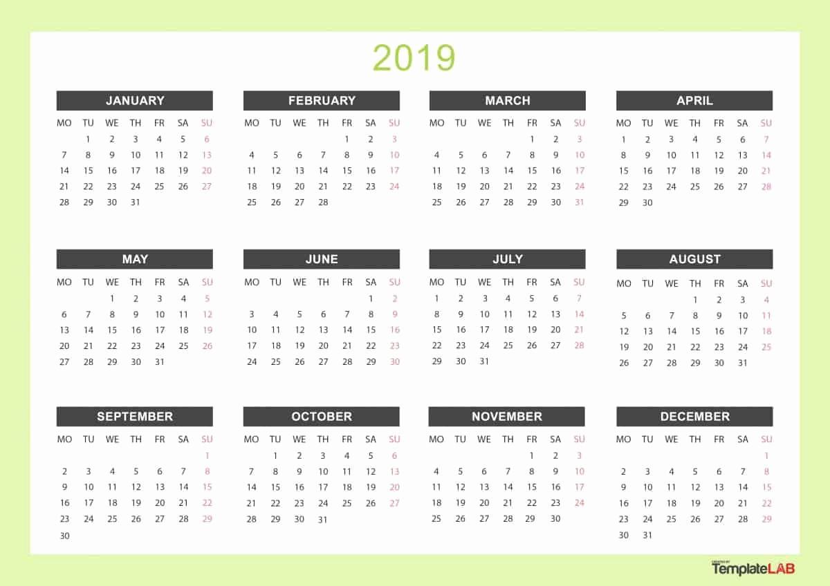 Free Printable 2019 Yearly Calendar Inspirational 2019 Printable Calendars [monthly with Holidays Yearly