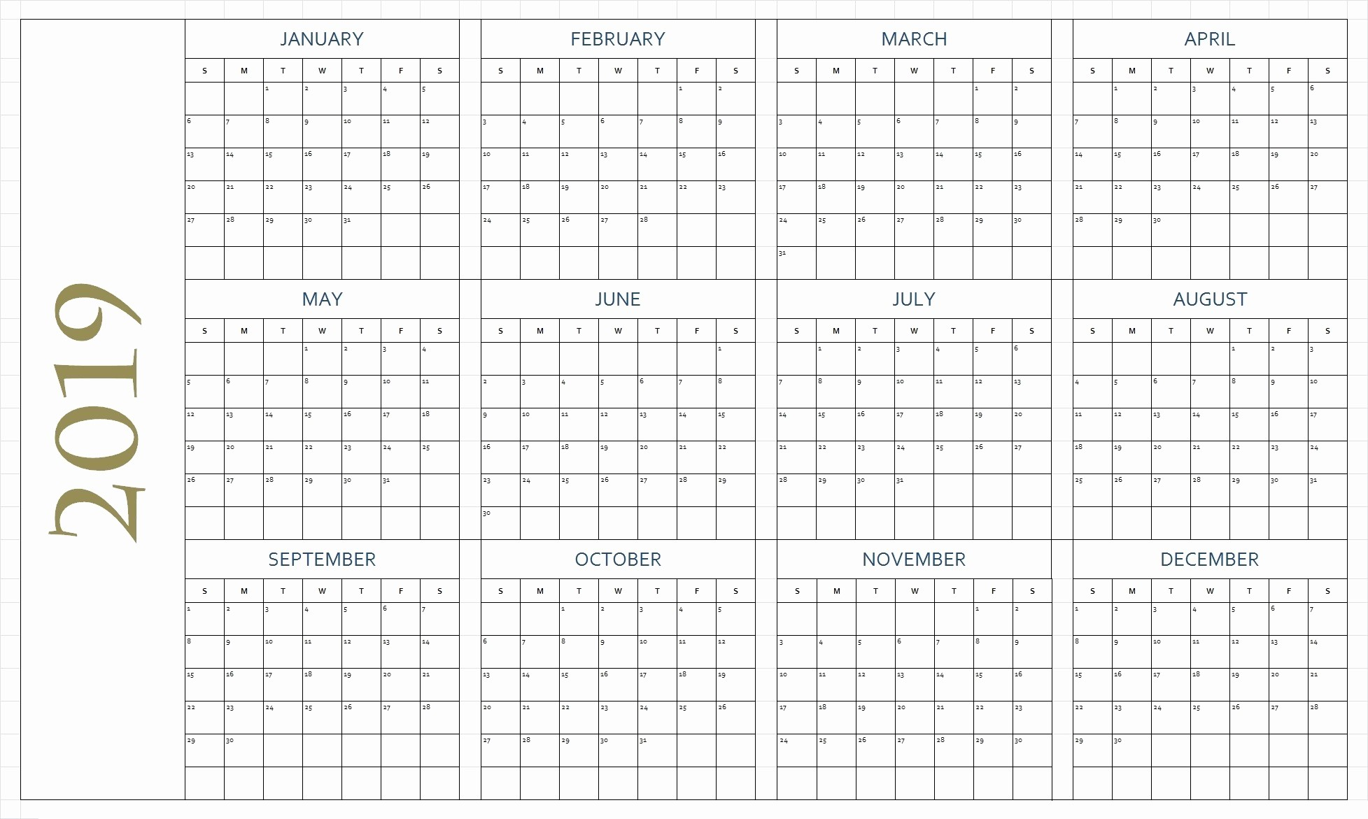 Free Printable 2019 Yearly Calendar Inspirational Free Printable Calendar 2019 In Pdf Word Excel Template