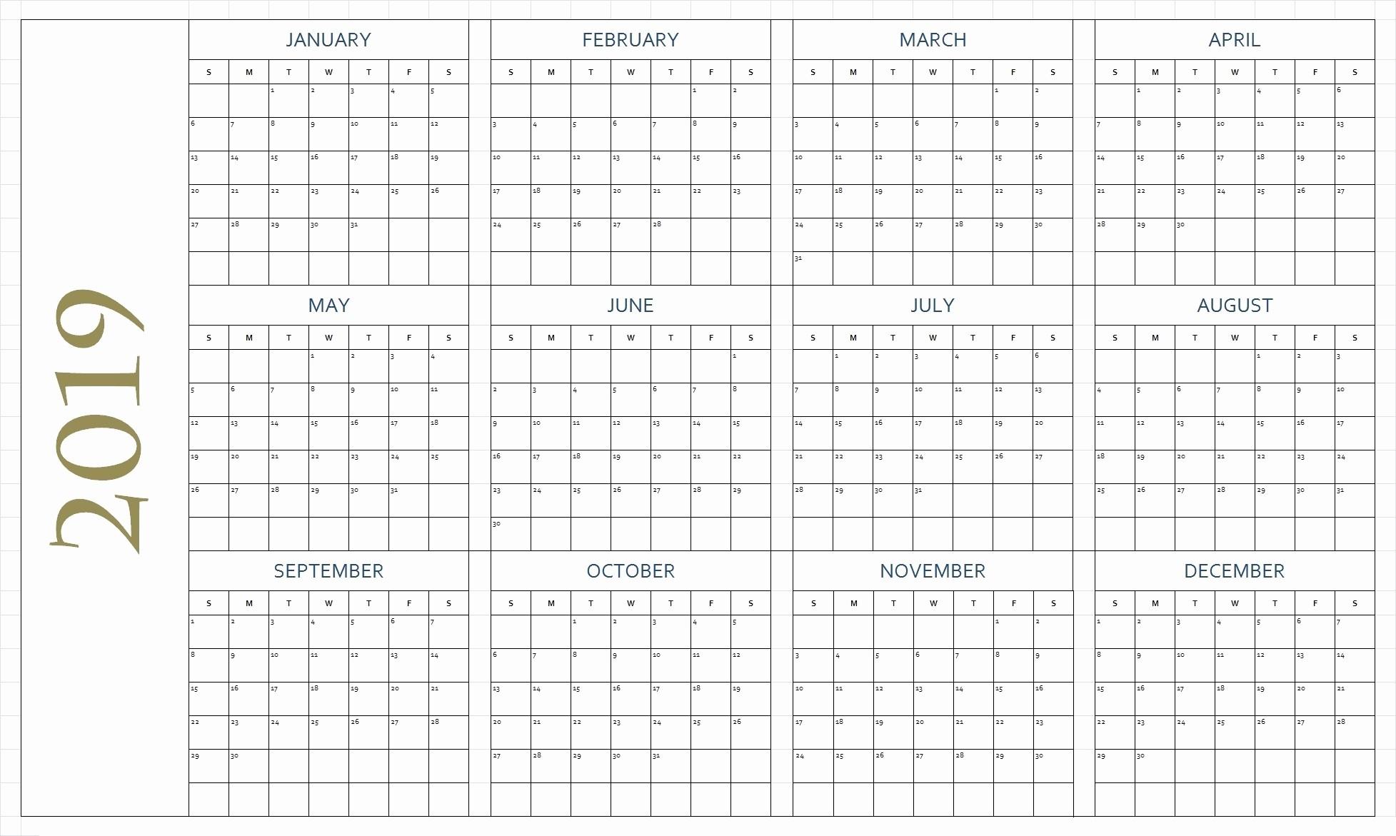 Free Printable 2019 Yearly Calendar Inspirational Free Printable Calendar 2019 In Pdf Word Excel Template