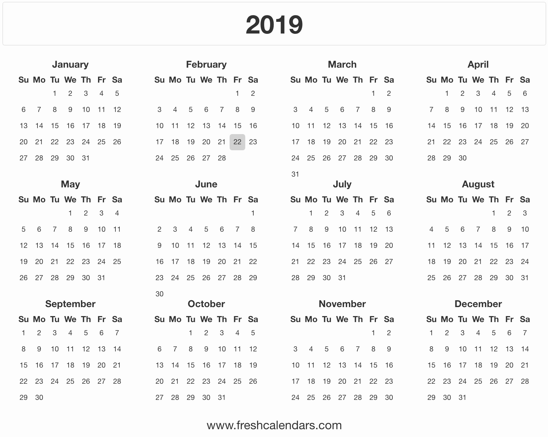 Free Printable 2019 Yearly Calendar New 2019 Calendar