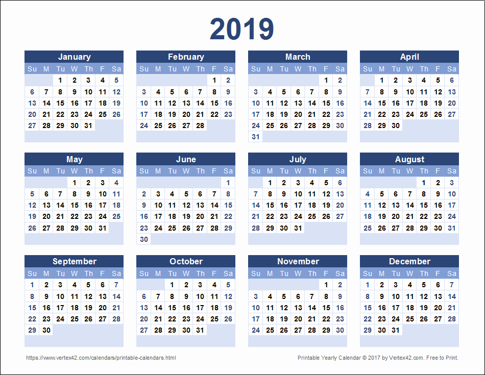 Free Printable 2019 Yearly Calendar New Download A Free Printable 2019 Yearly Calendar From