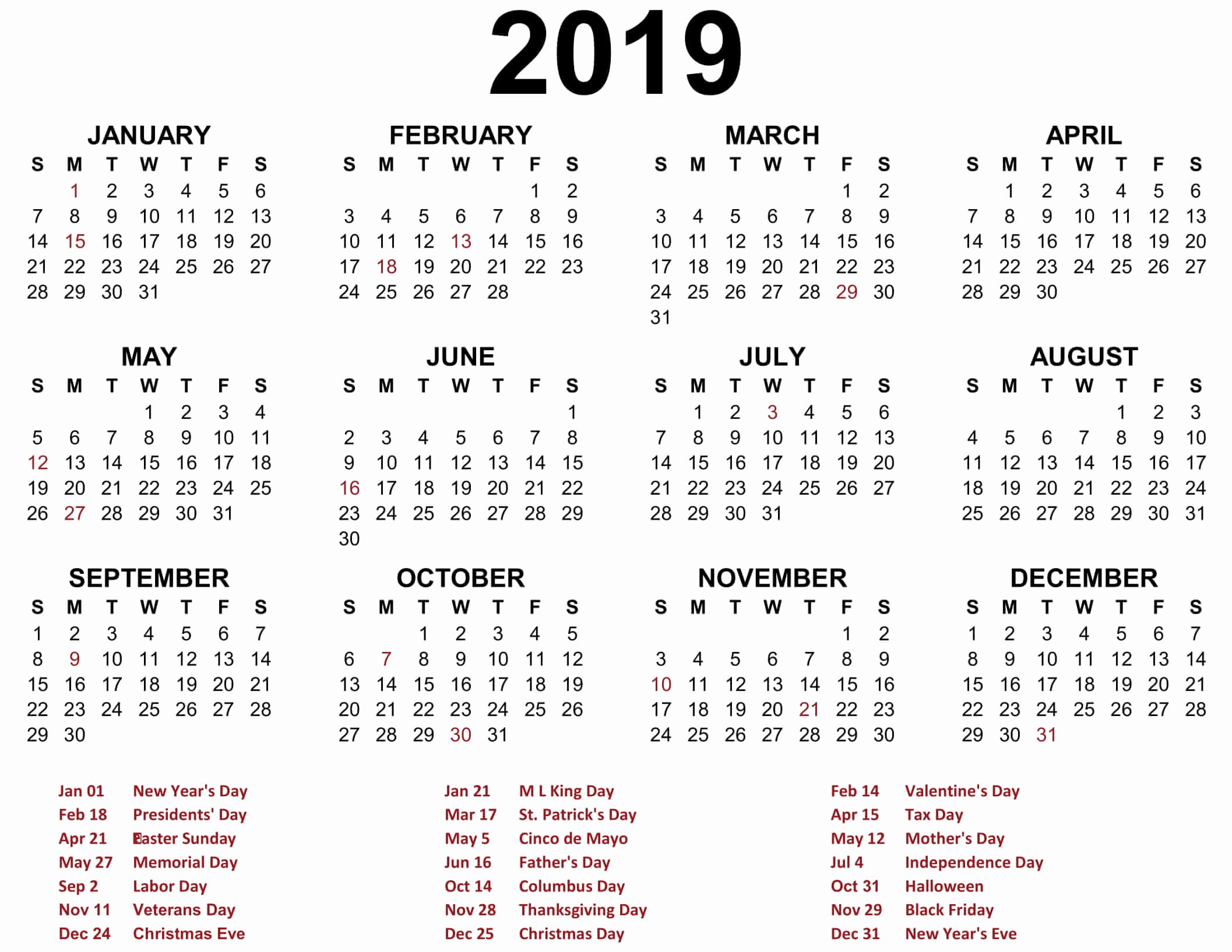 Free Printable 2019 Yearly Calendar New Free Yearly Calendar 2019 Printable Blank Templates