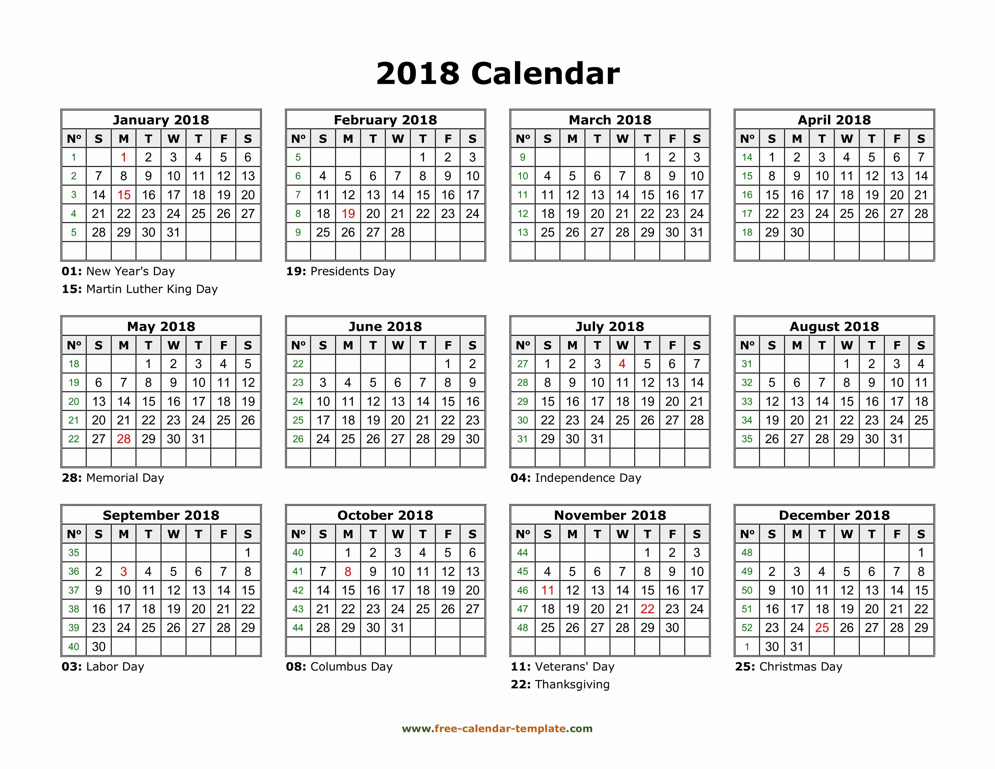 Free Printable 2019 Yearly Calendar New Printable Yearly Calendar 2018
