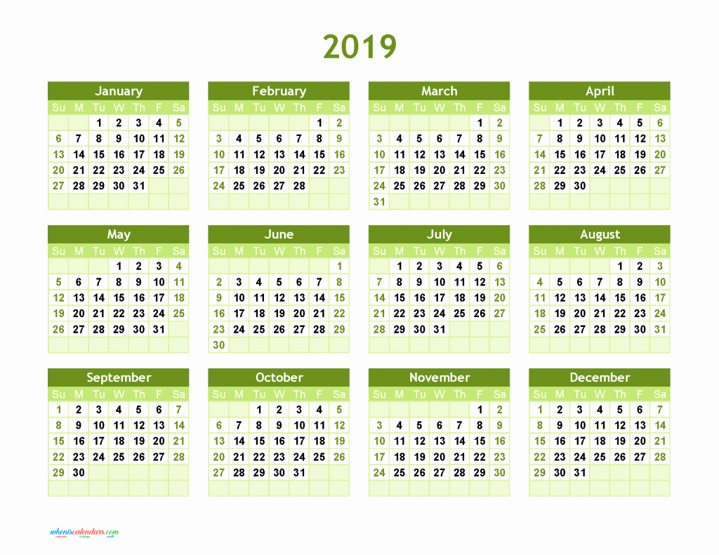Free Printable 2019 Yearly Calendar New Yearly Calendar 2019 Printable and Editable as Pdf Image
