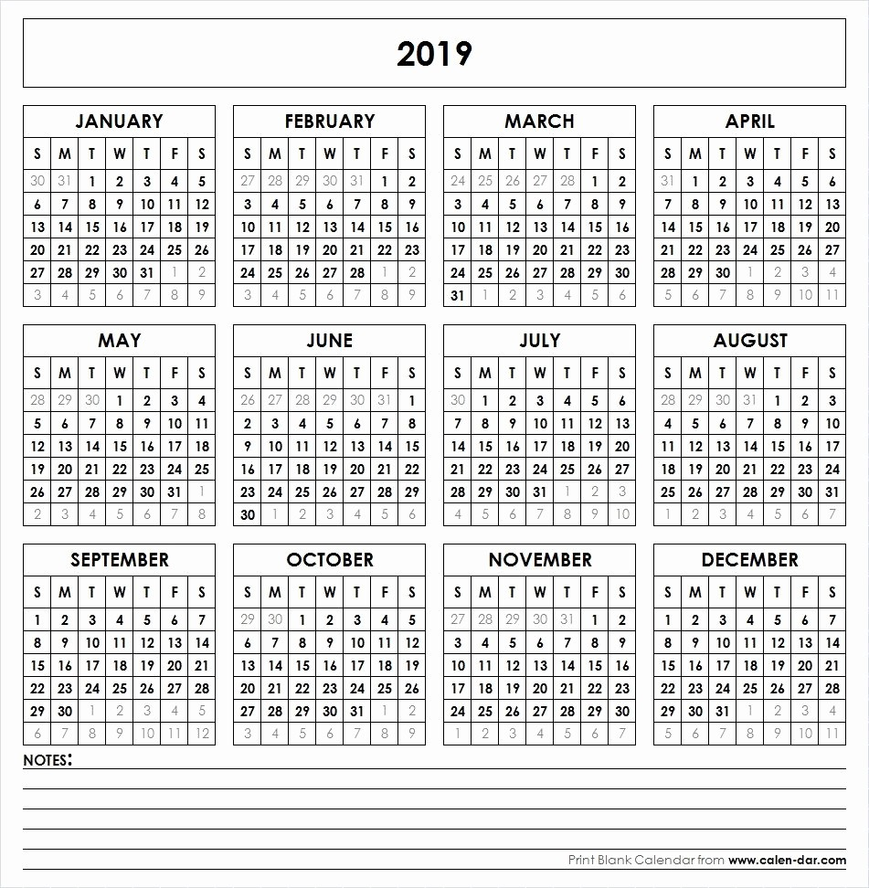 Free Printable 2019 Yearly Calendar Unique 2019 Printable Calendar Yearly Calendar