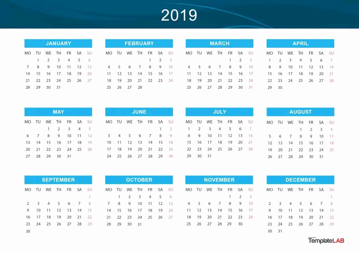 Free Printable 2019 Yearly Calendar Unique 2019 Printable Calendars [monthly with Holidays Yearly