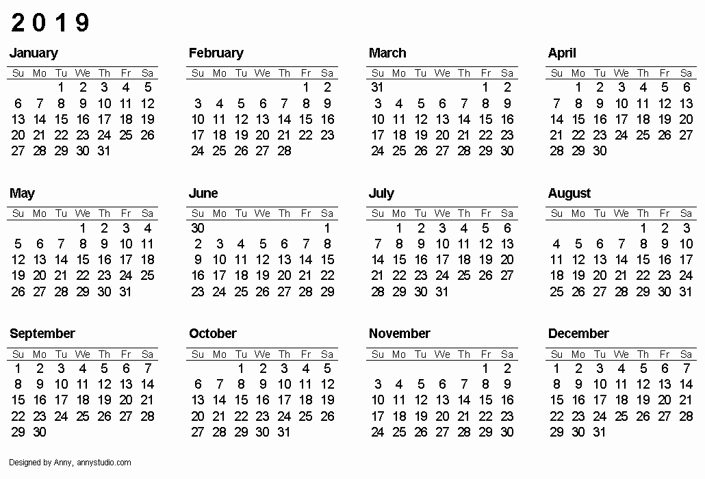 Free Printable 2019 Yearly Calendar Unique Free Printable Calendars and Planners 2019 2020 2021