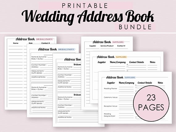 Free Printable Address Book Pages Luxury Wedding Address Book Bundle Printable Address Book