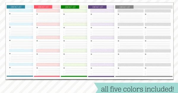 Free Printable Address Book Pages New Contact List Printable Address Book Page Instant