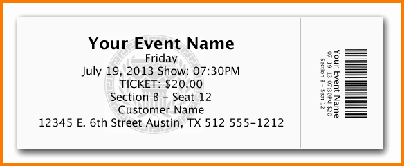 Free Printable Admission Ticket Template Inspirational Free event Ticket Template