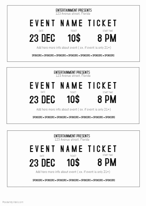 Free Printable Admission Ticket Template Luxury Black and White event Ticket Template Printable Size A4