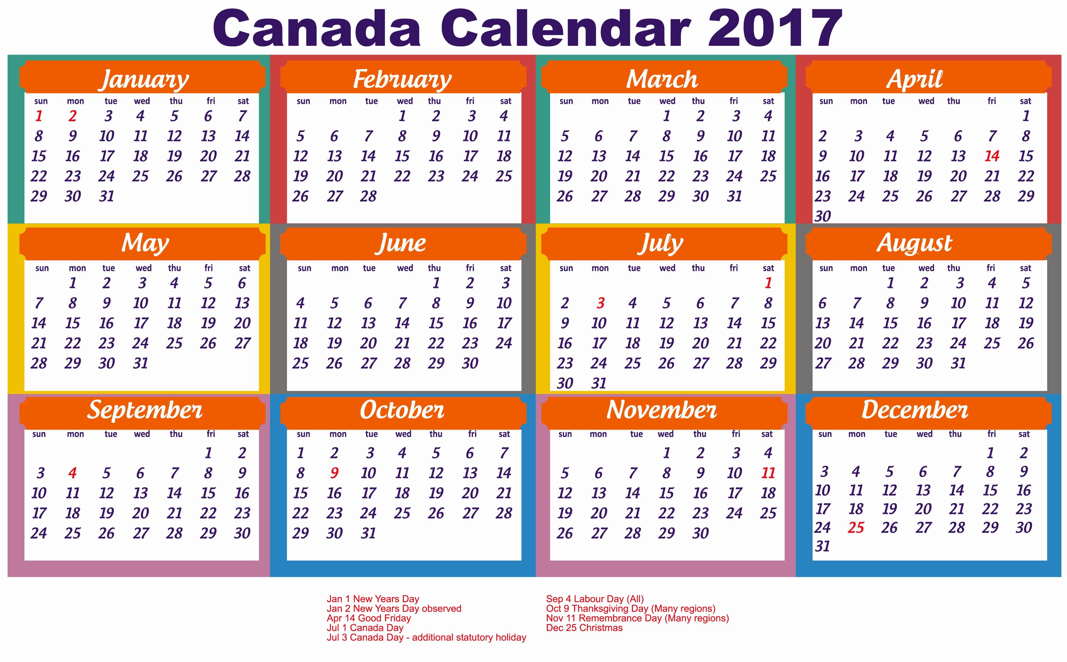 Free Printable Annual Calendar 2017 Awesome 2017 Calendar Canada